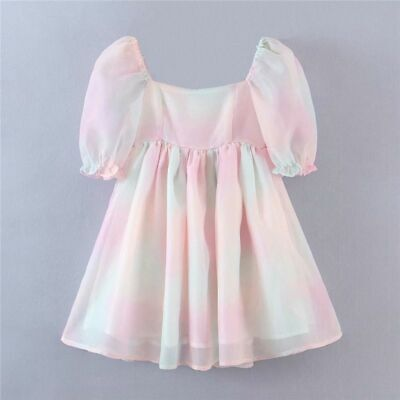 AU53.25 • Buy Tie Dye Multicolor A-Line Puff Short Ball Gown Dresses For Women Casual Clothing