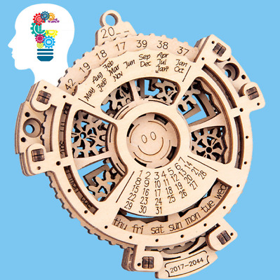 £5.78 • Buy Real Working Wooden Perpetual Calendar Gear Rotating Assembly Model Toy Puzzle