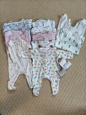 £1.70 • Buy 0-3 Months Girls Sleepsuits Bundle With 2 Dungarees And Socks