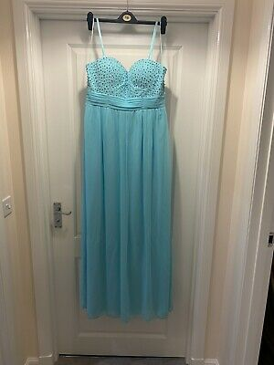 £14.99 • Buy Goddiva Teal Blue Occasion Prom Dress Size 14 VGC With Shawl