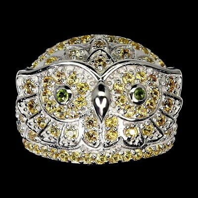 AU30.31 • Buy Round Yellow Sapphire Diamond Cut Chrome Diopside 925 Sterling Silver Owl Ring 7