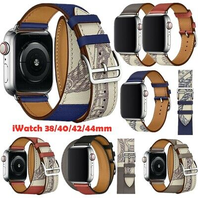 AU17.52 • Buy Genuine Leather Single Double Tour Watch Band Strap For Apple Watch 6 5 4 3 2 1