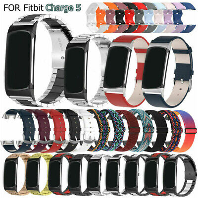 AU15.71 • Buy Wrist Strap For Fitbit Charge 5 Smartwatch Stainless Steel/Leather/Silicone Band