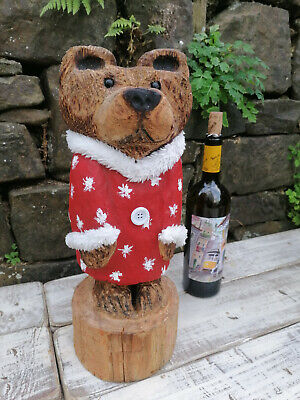 £60 • Buy Chainsaw Carved Wooden Bear From A Cedar Log/ Stump. Cute Wooden Christmas Gift.