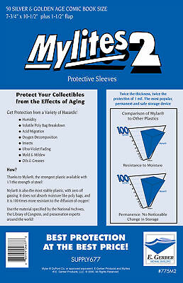 £18.79 • Buy Mylites 2  Protective Sleeves  Pack Of 50 Silver/golden Age Comic Size. E Gerber