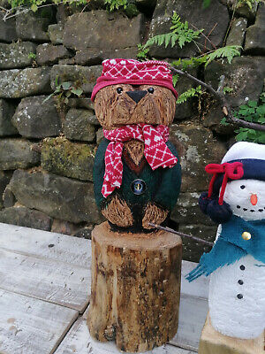 £55 • Buy Chainsaw Carved Wooden Bear From A Cedar Log/ Stump. A Cute Christmas Gift.