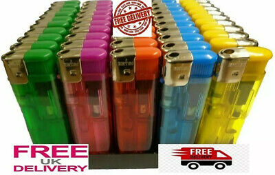 £2.99 • Buy 5 Electronic Lighters Refillable Gas Child Safety Adjustable Flame In 5 Colours