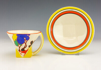 £1.04 • Buy Moorland Pottery Chelsea Works - Clarice Cliff Style Conical Cup & Saucer