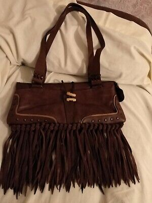 £39 • Buy Rare Leather Fringe Bag By Stephen ( Affede) Made In Italy