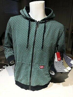 £19.23 • Buy VANS Off The Wall Green Black Checkered Zip Up Hoodie Sweater Sz Med. BRAND NEW