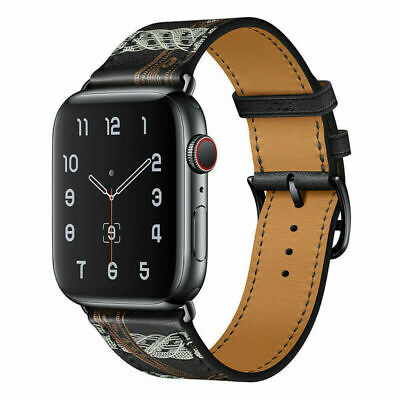 AU13.99 • Buy  Black Leather Watch Band Starp For Apple Watch Series 5 4 3 2 6 38/40/42/44MM