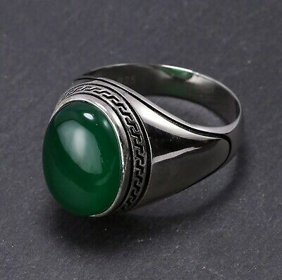 £57.45 • Buy Natural Jade Gemstone With 925 Sterling Silver Ring For Men's #A167