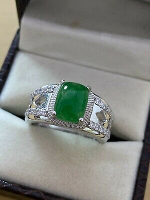 £57.35 • Buy Natural Jade Gemstone With 925 Sterling Silver Ring For Men's #A168