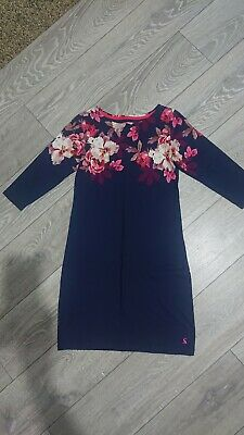 £8 • Buy Joules Mini Dress Size 8, Navy With Flowers, 3/4 Sleeves