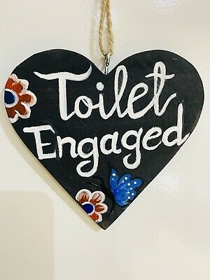 £5 • Buy Toilet Engaged Vacant Double Sided Wooden Hanging Door Sign Decorative Plaque