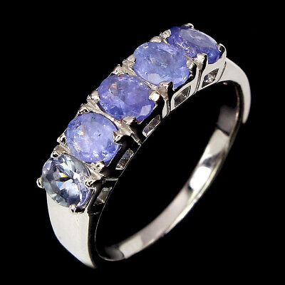 £0.72 • Buy Unheated Oval Tanzanite 5x3mm 14K White Gold Plate 925 Sterling Silver Ring Sz 9