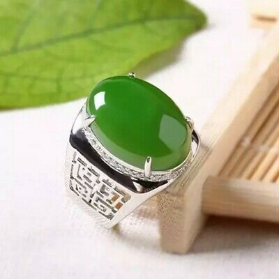 £76.60 • Buy Natural Jade Gemstone With 925 Sterling Silver Ring For Men's #4