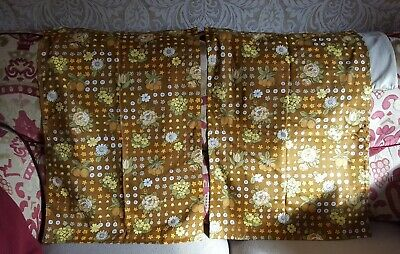 £6 • Buy Pair Of Small Vintage 70s Curtains. Each Curtain 31.5  By 22  Brown Floral