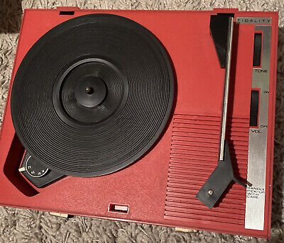 £60 • Buy 1970s Red Fidelity Vintage Record Player HF42 33/45/78/RPM