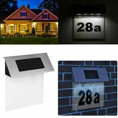 £8.98 • Buy Stainless Steel Solar Power House Door Number Wall Plaque LED Light Illuminated