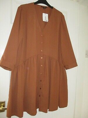 £3.50 • Buy BNWT 3/4 Sleeved Gathered Drop Waist Button Front Smock/Tunic/Dress Size 16