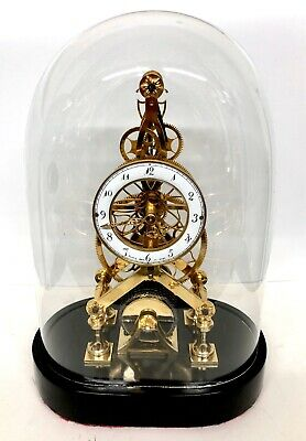 £795 • Buy Chain Fusee Gilt Skeleton Clock With Glass Dome After FRANZ DENK IN WIEN