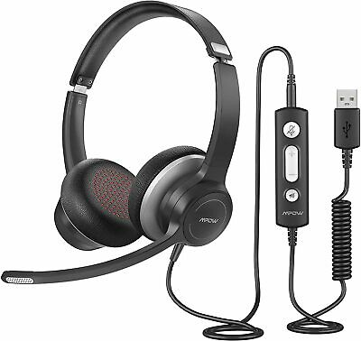 £19.49 • Buy Mpow USB Computer PC Headset Headphones Call Centrer Dual Microphones For Skype
