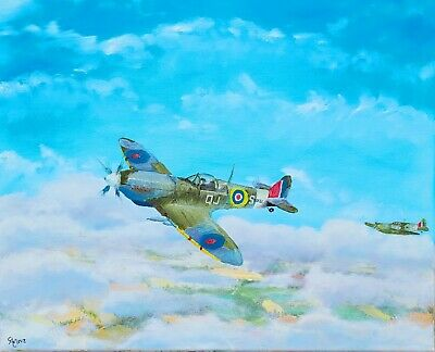 £102.03 • Buy SUPERMARINE SPITFIRE, PLANES, RAF, BATTLE OF BRITAIN OIL PAINTING 16 X 20 CANVAS