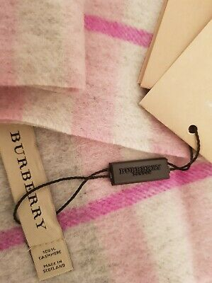 £65 • Buy Burberry Scarf Cashmere Pink&Grey