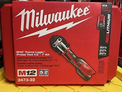 £1339.12 • Buy Milwaukee M12 Force Logic Cordless Press Tool Kit (3 Jaws Included) 2473-22