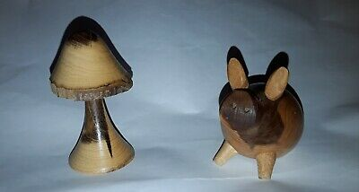 £9.99 • Buy A Small Hand Made Wooden Woodenware Pig And Mushroom Figure Bundle Job Lot