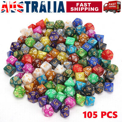 AU28.95 • Buy 105x Polyhedral Dice Sets For DND RPG MTG Dungeons & Dragons Table Game Playing