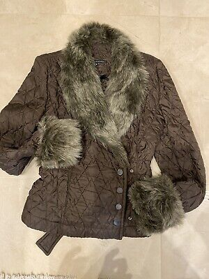 £10 • Buy Topshop Concessions Quilted Faux Fur Cuff & Collar Jacket Size 10 Used