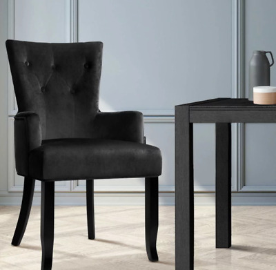 AU104 • Buy Artiss Dining Chairs French Provincial Chair Velvet Fabric Timber Retro Black
