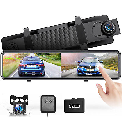 AU179.99 • Buy TOGUARD 4K Dual Len Mirror Dash Cam GPS 12  Touch Screen Front And Rear Camera