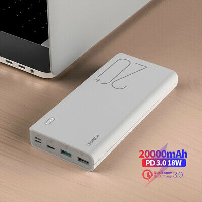 AU12 • Buy ROMOSS 20000mAh Power Bank 3USB QC3.0 Type-C PD 18W Fast Charge Phone Charger