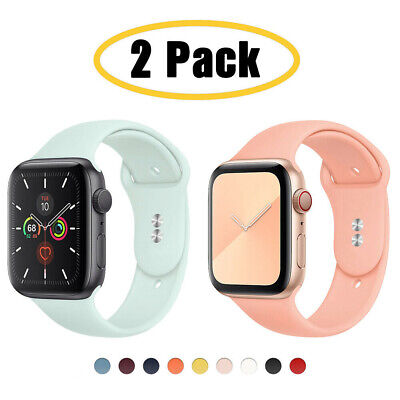 AU9.99 • Buy 2-PACK Silicone Sport Band IWatch Strap Fits Apple Watch Series 6 5 4 3 2 1SE