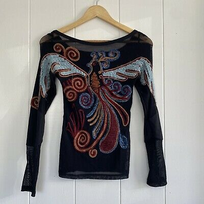 AU66.57 • Buy Save The Queen S Black Mesh Phoenix Embroidered Top