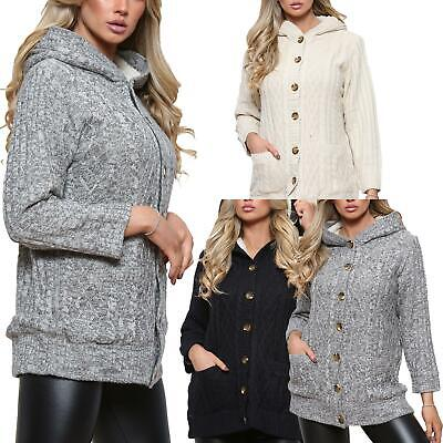 £11.99 • Buy Ladies Womens Chunky Cable Knit Hooded Sherpa Fleece Lined Long Cardigan Jumper