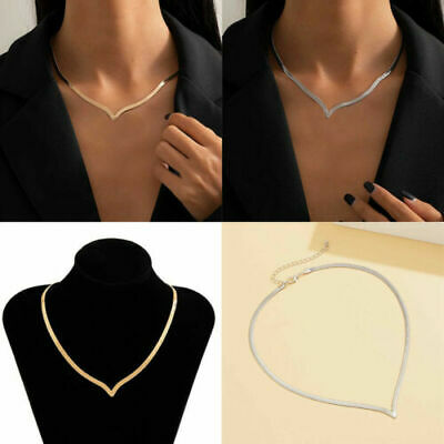 £1.87 • Buy Women Simple Clavicle Necklace Punk V-Shaped Copper Flat Snake Chain Minimalist