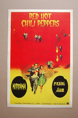 $3 • Buy Red Hot Chili Peppers Concert Tour Poster 1991 Cow Palace San Fran Nirvana Pearl