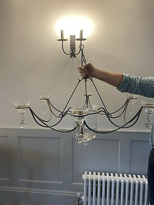 £49.99 • Buy Wrought Iron And Glass Candle Holder Vase/pendant