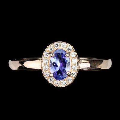 £0.72 • Buy Unheated Oval Tanzanite 6x4mm Cz 14K Rose Gold Plate 925 Sterling Silver Ring 7