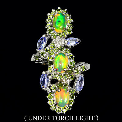 £0.72 • Buy Unheated Oval Fire Opal 6x4mm Chrome Diopside Tanzanite 925 Sterling Silver Ring