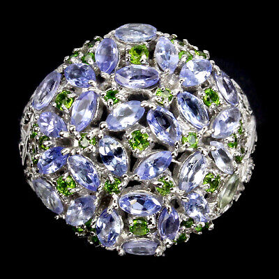 £0.72 • Buy Unheated Marquise Tanzanite 4x2mm Chrome Diopside 925 Sterling Silver Ring Sz 8