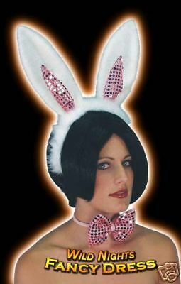 £4.50 • Buy Hen Party # Pink / White Bunny Girl Set Ears / Bow Tie