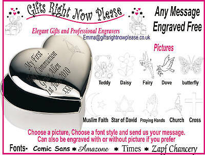 Engraved Heart Trinket Box First Holy Communion Gift • 11.99£