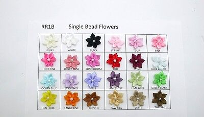 Satin Single Bead Flower Sew On Appliques X 10, Various Colours And Mixed Pack • 2.55£