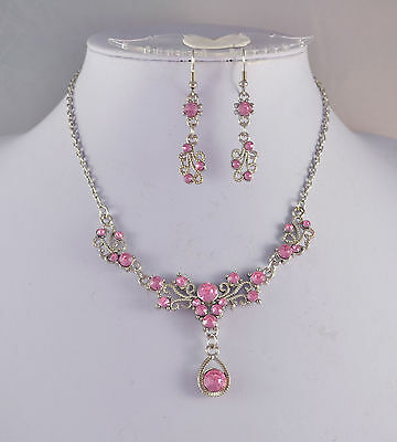 £4.49 • Buy Silver Tone Pink Crystal  Small Tear Drop Necklace Earrings Set