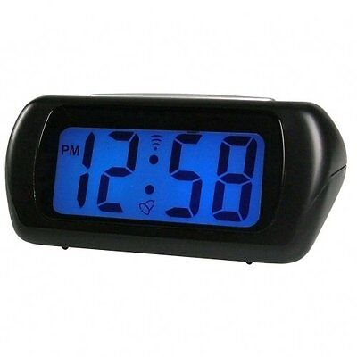 Acctim Black Auric Alarm Clock Blue LCD Battery Operated Digital Lighted • 12.95£